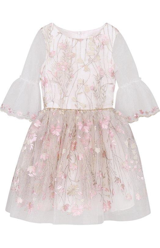 Купить Платье-миди с декоративной вышивкой и расклешенными рукавами David Charles, 9126, Великобритания, Розовый, Полиэстер: 100%; Подкладка-ацетат: 100%;