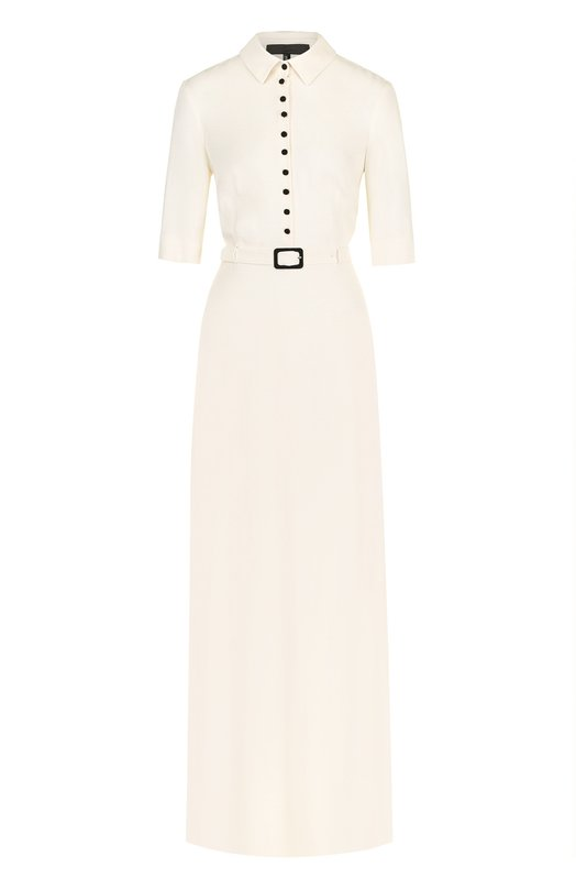 Купить Шелковое платье-рубашка с коротким рукавом Tegin, SD1808, Россия, Бежевый, Шелк: 100%;