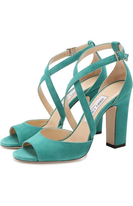 Купить Замшевые босоножки Carrie 100 на устойчивом каблуке Jimmy Choo, CARRIE 100/SUE, Италия, Зеленый, Стелька-кожа: 100%; Подошва-кожа: 100%; Замша натуральная: 100%;
