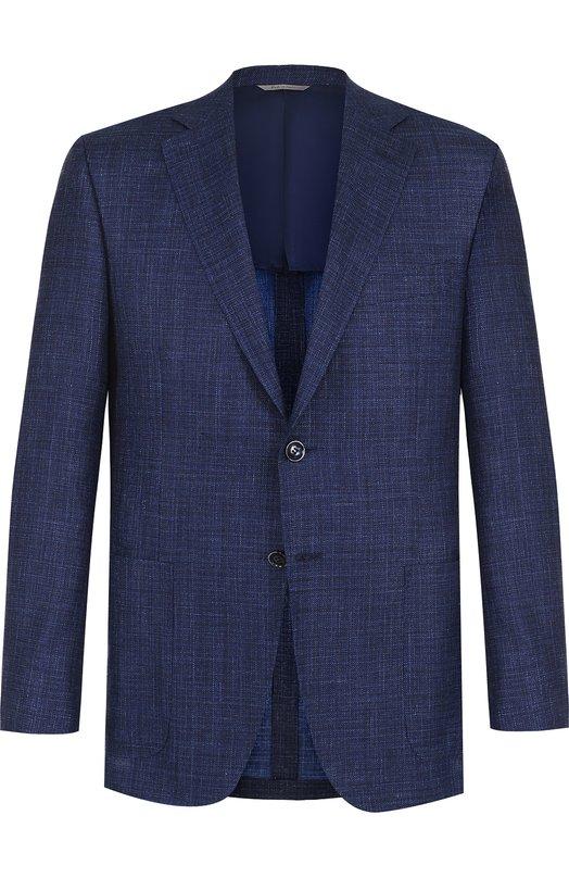 Купить Однобортный пиджак из смеси шерсти и льна с шелком Canali, 23291/CU00383, Италия, Темно-синий, Шерсть: 68%; Шелк: 20%; Лен: 12%;