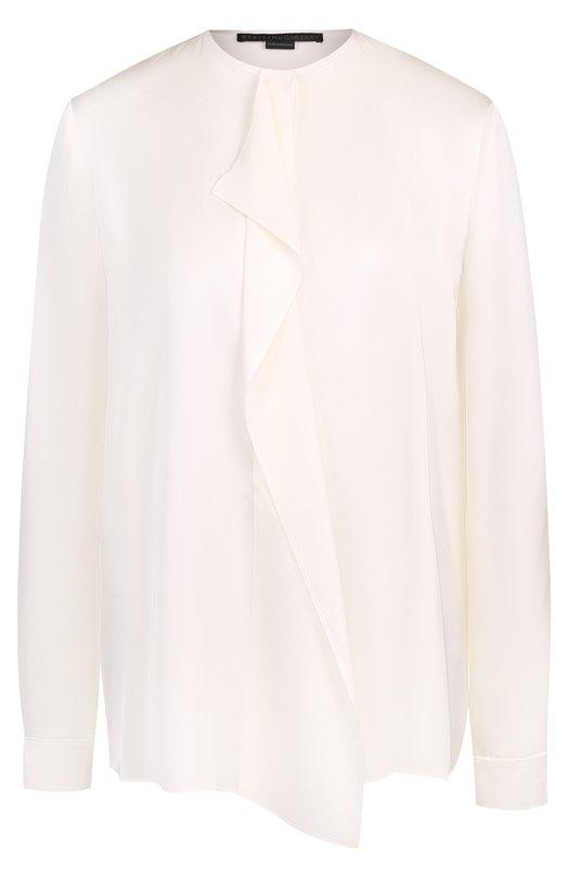 Купить Шелковая блуза с круглым вырезом и оборкой Stella McCartney, 411785/SGA22, Венгрия, Молочный, Шелк: 100%;