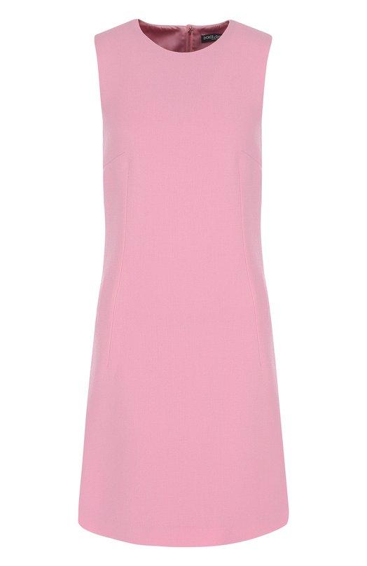 Купить Приталенное однотонное мини-платье без рукавов Dolce & Gabbana, F67F2T/FU2TZ, Италия, Розовый, Подкладка-шелк: 94%; Подкладка-эластан: 6%; Шерсть: 100%;