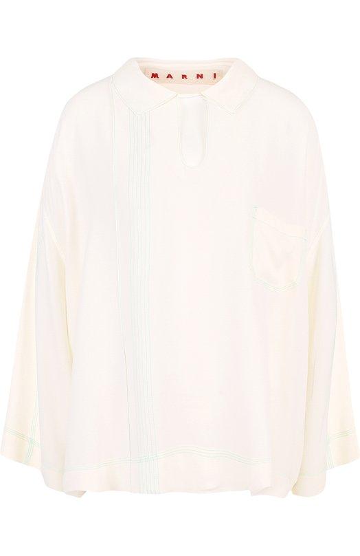 Купить Однотонная блуза свободного кроя Marni, CAMAW34A00/TA089, Португалия, Белый, Ацетат: 69%; Шелк: 31%;