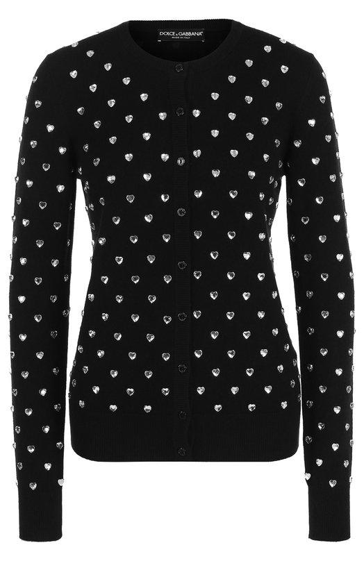 Купить Приталенный кашемировый кардиган с круглым вырезом Dolce & Gabbana, FX002Z/JAWBC, Италия, Черный, Кашемир: 100%;