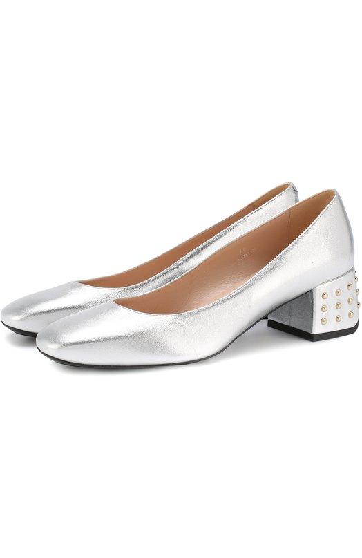 Купить Туфли из металлизированной кожи на декорированном каблуке Tod's, XXW20A0X462NPPB200, Италия, Серебряный, Кожа натуральная: 100%; Стелька-кожа: 100%; Подошва-резина: 100%;