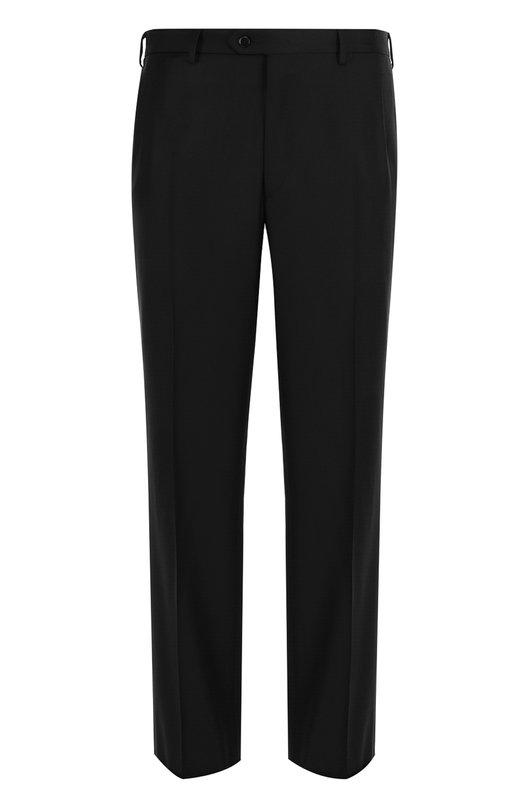 Купить Шерстяные брюки прямого кроя Brioni, RPL16S/PZA0P/C0RTINA, Италия, Черный, Шерсть овечья: 100%; Подкладка-купра: 100%;