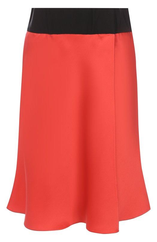 Купить Шелковая мини-юбка с контрастным поясом Giorgio Armani, WAN09T/0A163, Италия, Красный, Шелк: 100%;