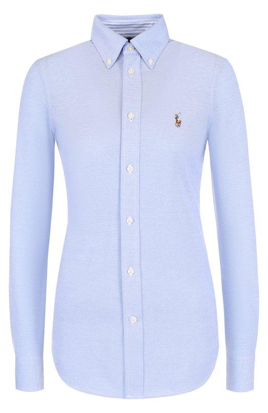 Купить Приталенная хлопковая блуза с логотипом бренда Polo Ralph Lauren, 211684070/211664427, Шри-Ланка, Голубой, Хлопок: 100%;