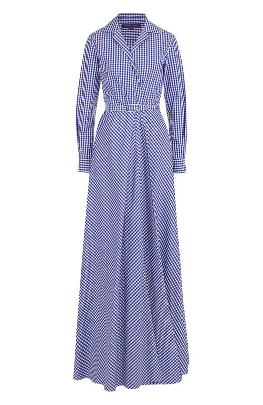 Купить Хлопковое платье-рубашка в клетку с поясом Ralph Lauren, 290707886, Италия, Синий, Хлопок: 100%;