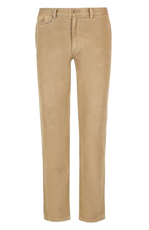 Купить Однотонные хлопковые брюки прямого кроя Ralph Lauren, 290698247, Китай, Бежевый, Хлопок: 100%;