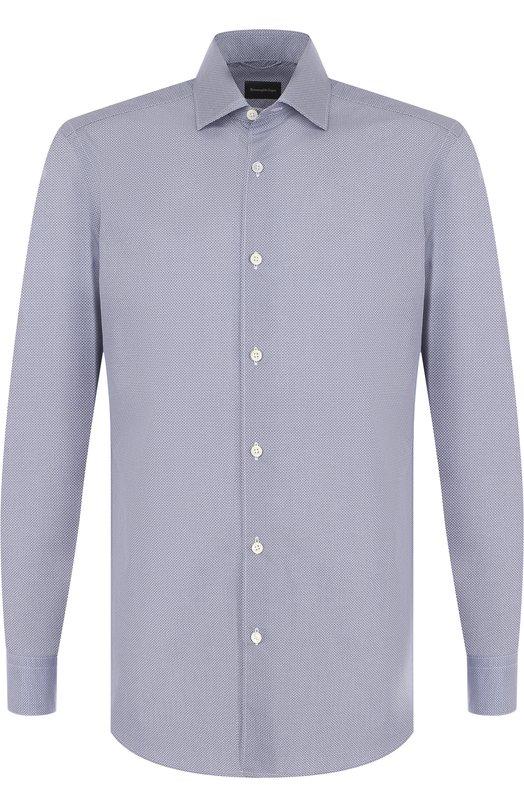 Купить Хлопковая сорочка с воротником кент Ermenegildo Zegna, UPX20/SRF5, Румыния, Синий, Хлопок: 100%;