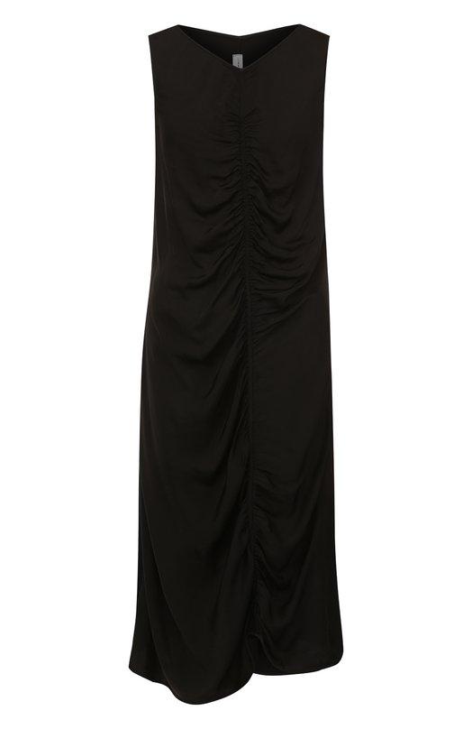Купить Платье-миди из смеси вискозы и хлопка с драпировкой Raquel Allegra, Y76-6739, США, Черный, Вискоза: 54%; Хлопок: 46%;