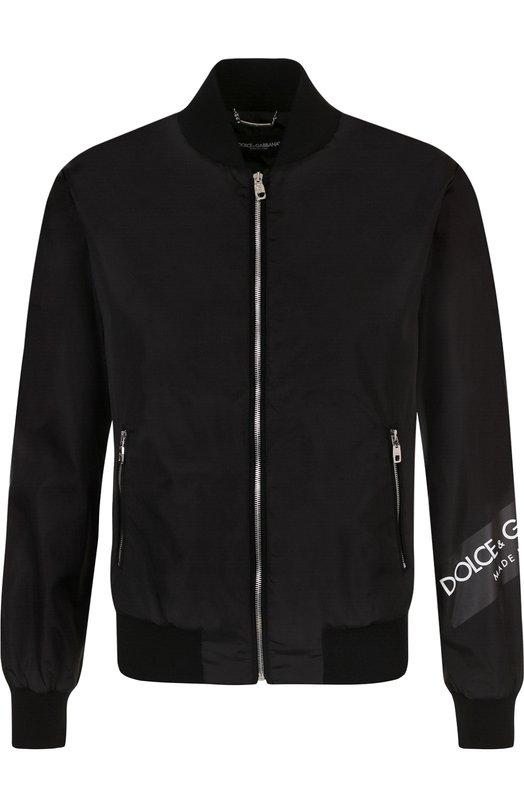 Купить Бомбер на молнии с логотипом бренда Dolce & Gabbana, G9KR7T/FUMQG, Италия, Черный, Полиамид: 100%; Подкладка-полиамид: 100%;