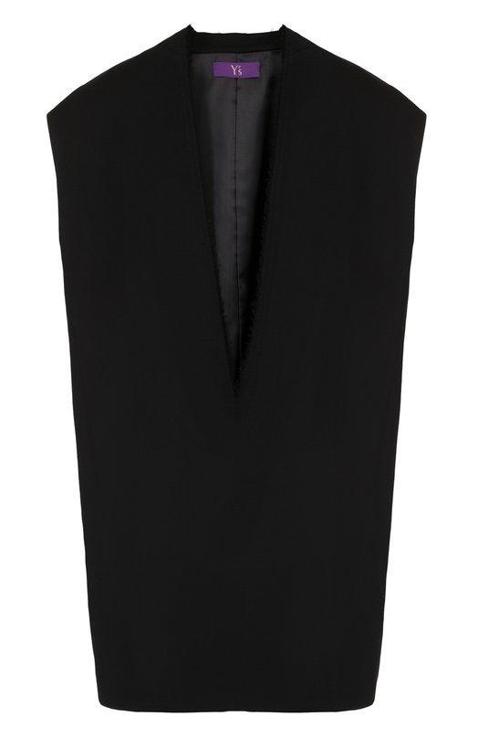 Купить Однотонный шерстяной жилет свободного кроя Yohji Yamamoto, YE-J41-130, Япония, Черный, Шерсть: 98%; Полиуретан: 2%; Подкладка-полиэстер: 100%;