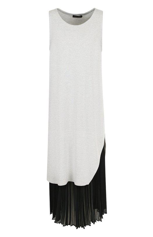 Купить Платье-миди с контрастной плиссированной вставкой Yohji Yamamoto, YE-K72-044, Япония, Серый, Акрил: 5%; Хлопок: 45%; Лиоселл: 40%; Полиэстер: 100%; Полиамид: 10%;