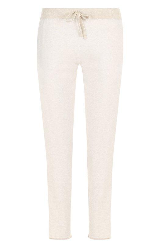 Купить Хлопковые укороченные брюки с эластичным поясом Deha, B74695, Китай, Бежевый, Хлопок: 95%; Полиэстер: 5%;