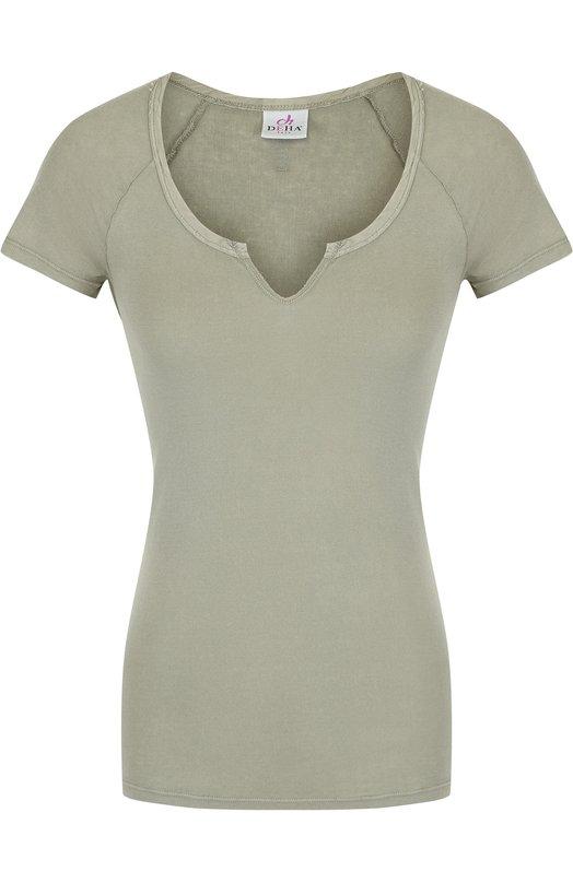 Купить Приталенная хлопковая футболка Deha, B74282, Италия, Хаки, Хлопок: 100%;