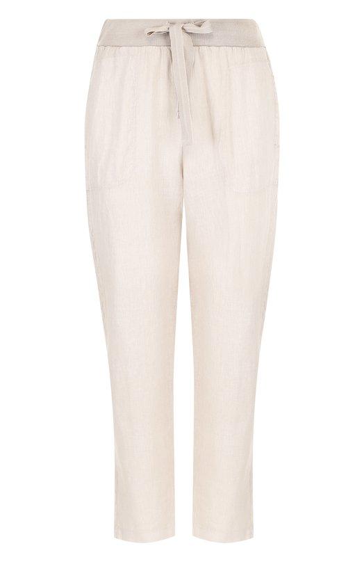 Купить Льняные укороченные брюки с эластичным поясом Deha, B74337, Тунис, Бежевый, Лен: 100%;