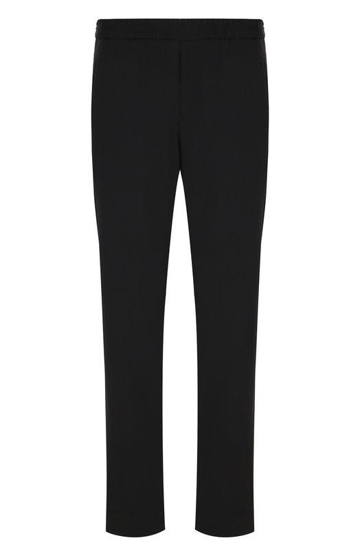 Купить Шерстяные брюки прямого кроя с поясом на резинке Emporio Armani, W1P250/W1057, Италия, Черный, Шерсть: 99%; Эластан: 1%;