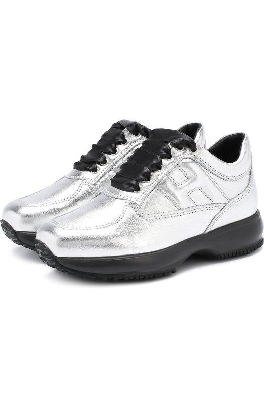 Кроссовки из металлизированной кожи на толстой подошве Hogan