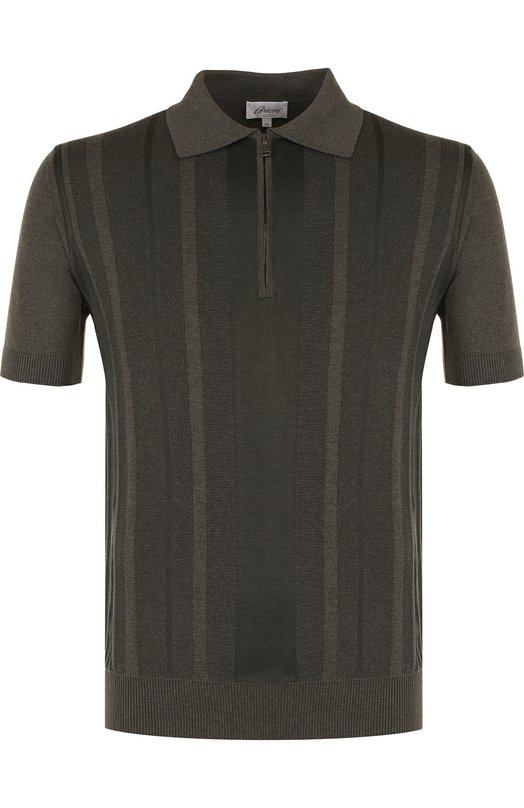 Купить Поло с короткими рукавами из смеси хлопка и шелка Brioni, UMS20L/P7K14, Италия, Темно-серый, Хлопок: 60%; Шелк: 40%;