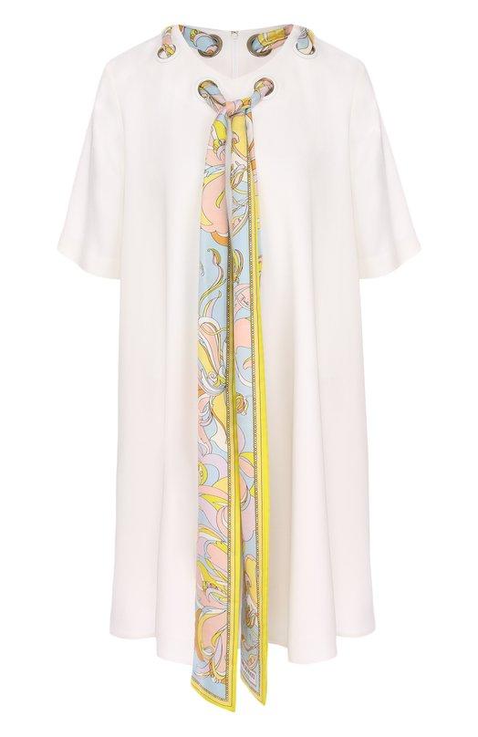 Купить Мини-платье свободного кроя с контрастной отделкой Emilio Pucci, 81RG01/81661, Италия, Белый, Вискоза: 97%; Эластан: 3%; Подкладка-шелк: 100%;