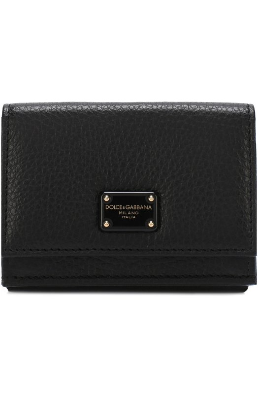 Купить Кожаное портмоне с клапаном и логотипом бренда Dolce & Gabbana, BI1048/AS244, Италия, Черный, Кожа натуральная: 100%;