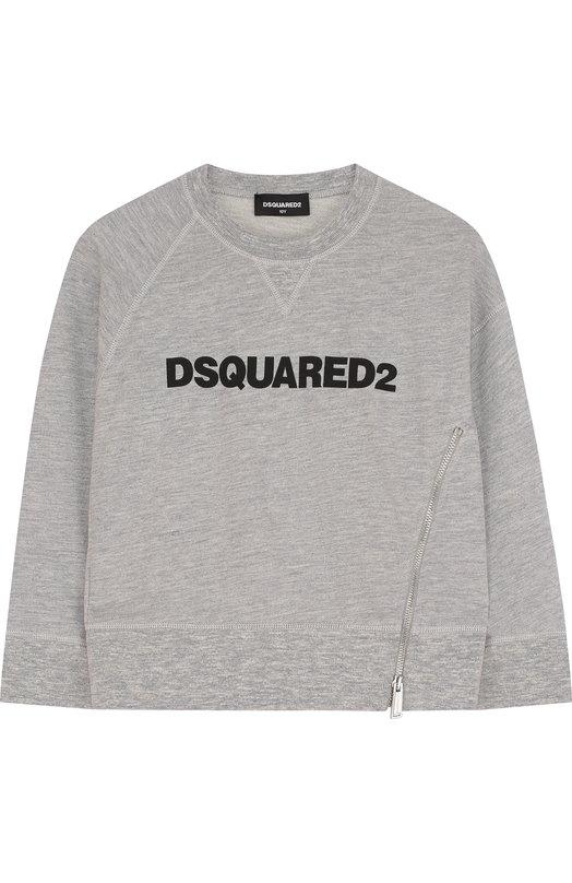 Хлопковый свитшот с логотипом бренда Dsquared2