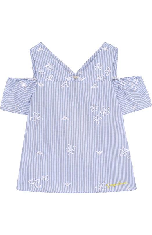 Купить Топ джерси с вышивкой Armani Junior, 3Z3H80/3N28Z/4A-10A, Турция, Голубой, Хлопок: 50%; Полиэстер: 50%;