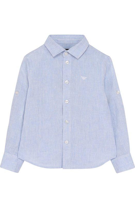 Льняная рубашка Armani Junior. Цвет: голубой