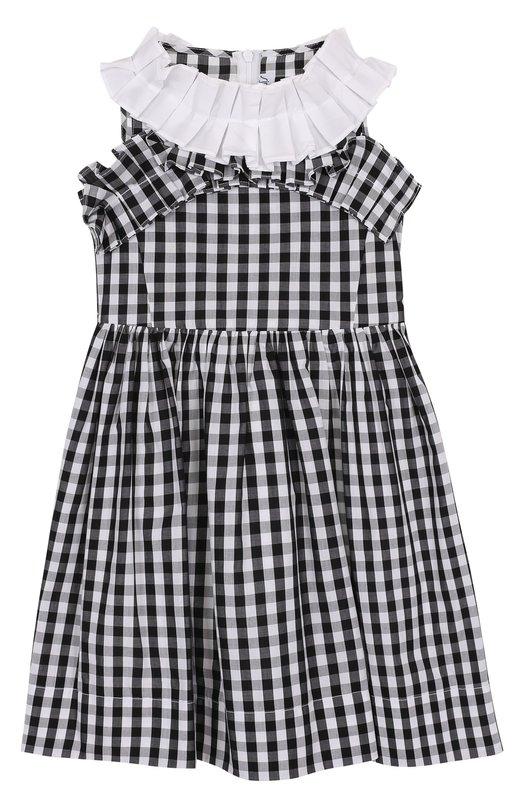 Купить Хлопковое платье в клетку с оборками Simonetta, 1I1012/IA780/4-6, Албания, Черно-белый, Хлопок: 100%; Подкладка-хлопок: 100%;