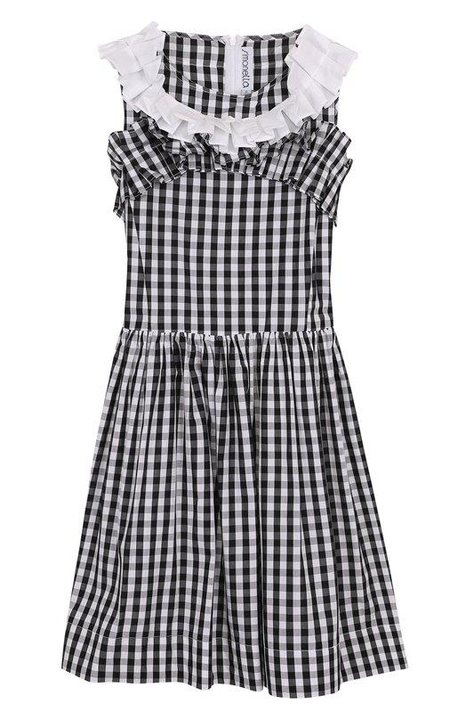 Купить Хлопковое платье в клетку с оборками Simonetta, 1I1012/IA780/7-10, Албания, Черно-белый, Хлопок: 100%; Подкладка-хлопок: 100%;