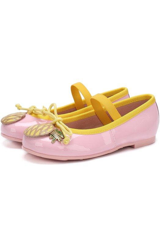 Купить Кожаные балетки с аппликациями и перемычкой Pretty Ballerinas, 46.949/9.031/SHADE/M0NR0E, Испания, Розовый, Кожа натуральная: 90%; Стелька-кожа: 100%; Подошва-резина: 100%; Текстиль: 10%;