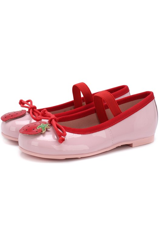 Купить Кожаные балетки с аппликациями и перемычкой Pretty Ballerinas, 46.950/9.031/SHADE/M0NR0E, Испания, Розовый, Кожа натуральная: 90%; Стелька-кожа: 100%; Подошва-резина: 100%; Текстиль: 10%;