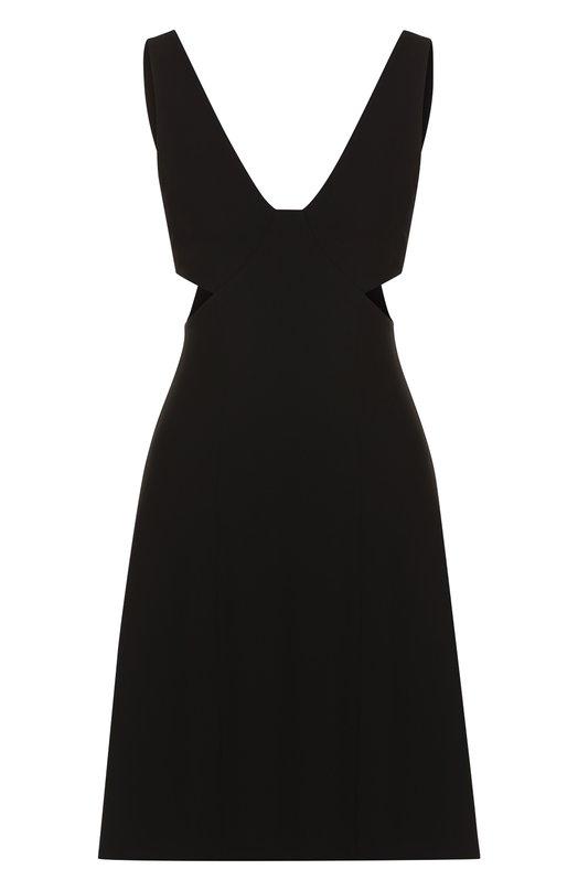Купить Однотонное приталенное мини-платье без рукавов Theory, H1109602, Китай, Черный, Триацетат: 70%; Полиэстер: 30%; Подкладка-полиэстер: 100%;
