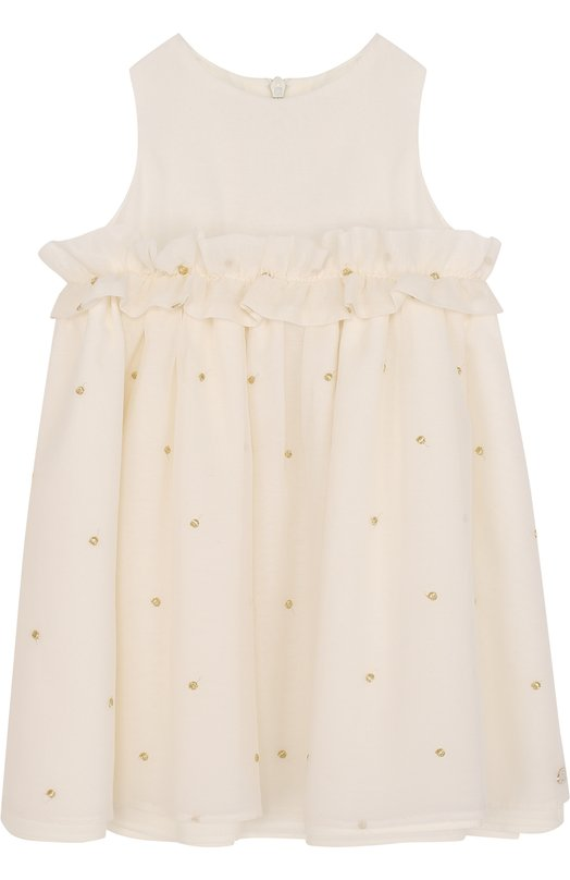 Купить Платье из хлопка и шелка с рюшами и металлизированной вышивкой Tartine Et Chocolat, TL31061/1M-18M, Болгария, Бежевый, Хлопок: 66%; Шелк: 34%; Подкладка-хлопок: 100%;