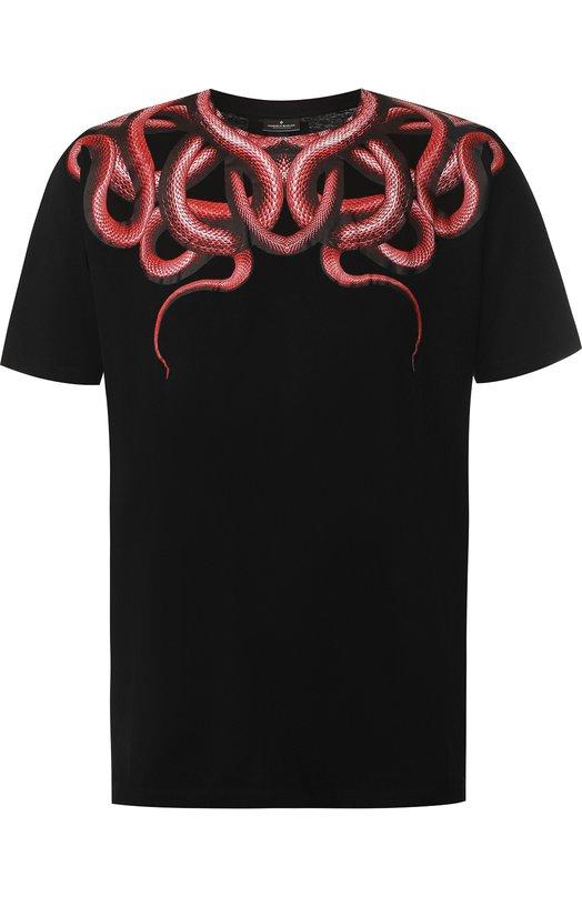 Купить Хлопковая футболка с принтом Marcelo Burlon, CMAA018S180010091020, Португалия, Черный, Хлопок: 100%;