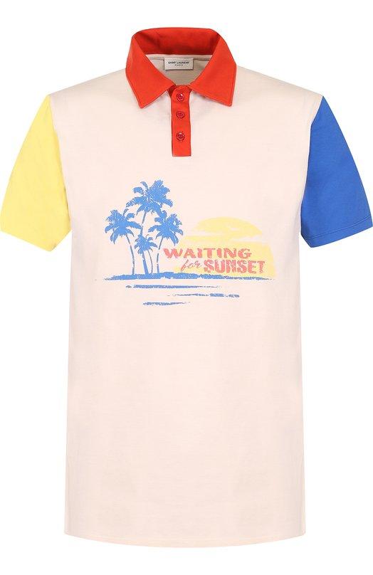 Купить Хлопковое поло с короткими рукавами Saint Laurent, 503655/YB20M, Франция, Разноцветный, Хлопок: 100%;
