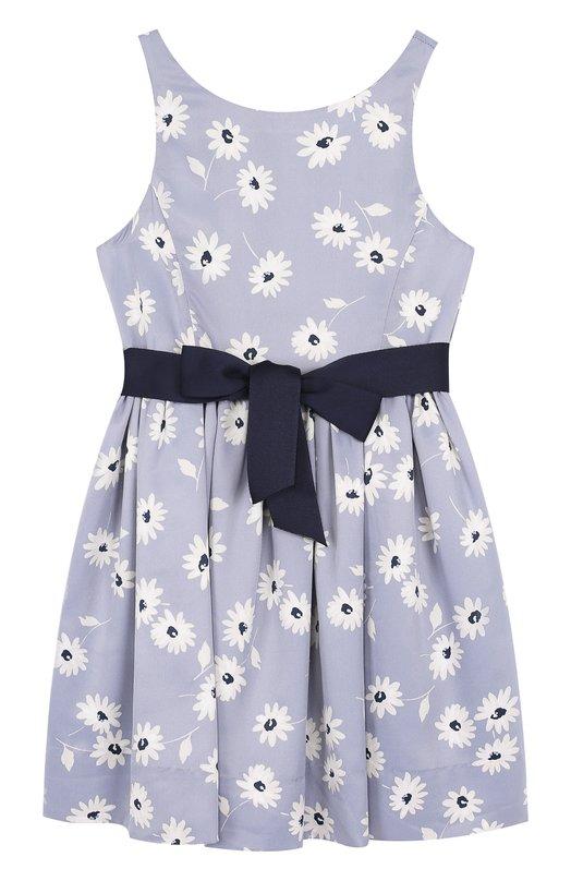 Купить Приталенное платье с принтом и контрастным поясом Polo Ralph Lauren, 312685441, Китай, Голубой, Полиэстер: 100%; Подкладка-полиэстер: 100%;