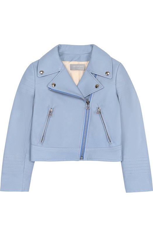 Купить Укороченная кожаная куртка с косой молнией Yves Salomon Enfant, 8EEV200XXAPSY/4-6, Франция, Голубой, Подкладка-шелк: 100%; Кожа натуральная: 100%;