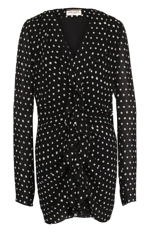 Купить Мини-платье из вискозы в горох Saint Laurent, 499467/Y328Q, Италия, Черно-белый, Вискоза: 100%; Подкладка-шелк: 100%;