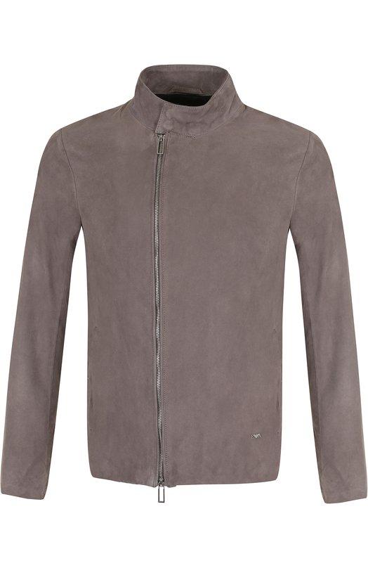 Купить Замшевая куртка на молнии с воротником-стойкой Emporio Armani, 3Z1BM7/1LBBZ, Индия, Серый, Подкладка-полиэстер: 100%; Замша натуральная: 100%;
