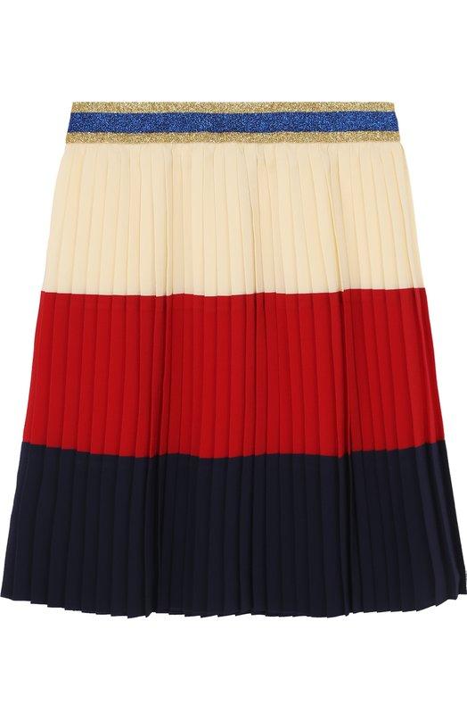 Купить Плиссированная юбка с металлизированной отделкой на поясе Gucci, 495617/ZB622, Италия, Разноцветный, Подкладка-ацетат: 71%; Подкладка-шелк: 29%; Шелк: 100%;