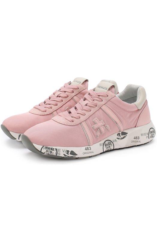 Купить Комбинированные кроссовки Mattew-D на шнуровке Premiata, MATTEW-D/VAR3050, Вьетнам, Розовый, Текстиль: 80%; Кожа натуральная: 20%; Стелька-кожа: 100%; Подошва-резина: 100%;