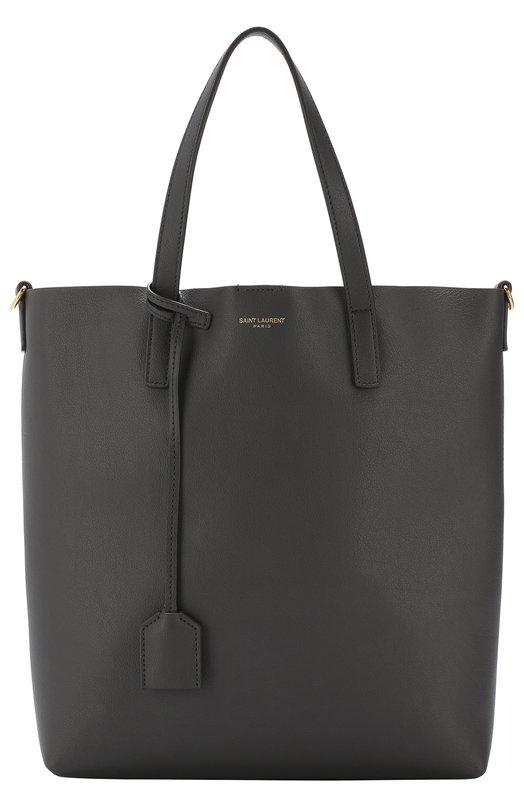 Купить Сумка-тоут Shopping Saint Laurent, 498612/CSV0J, Италия, Темно-серый, Кожа натуральная: 100%;