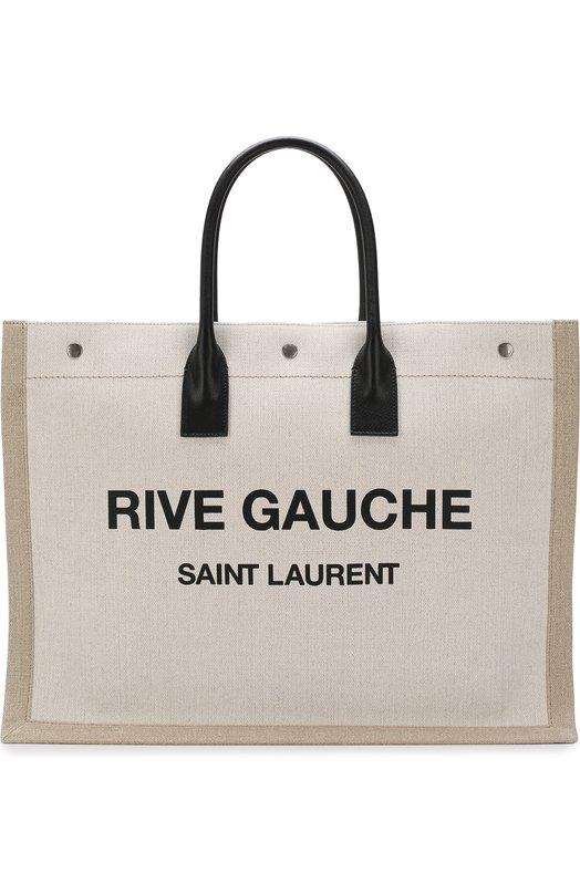 Купить Сумка-тоут Noe large Saint Laurent, 499290/9J52D, Италия, Черно-белый, Отделка кожа натуральная: 100%; Текстиль: 100%;