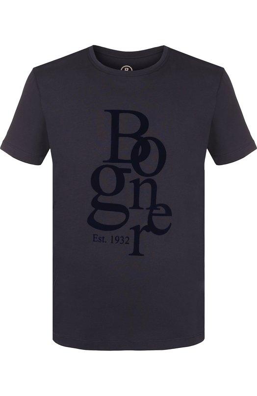 Купить Хлопковая футболка с логотипом бренда Bogner, 5132MM03, Португалия, Темно-синий, Хлопок: 100%;