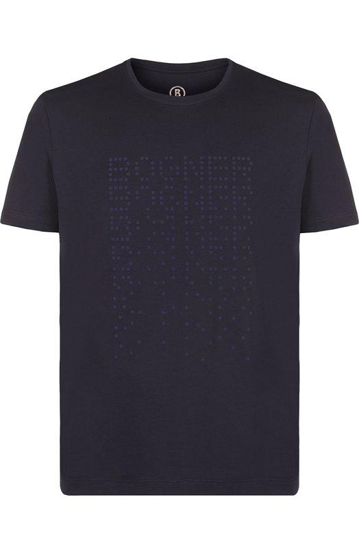 Купить Хлопковая футболка с логотипом бренда Bogner, 5132M503, Португалия, Темно-синий, Хлопок: 100%;