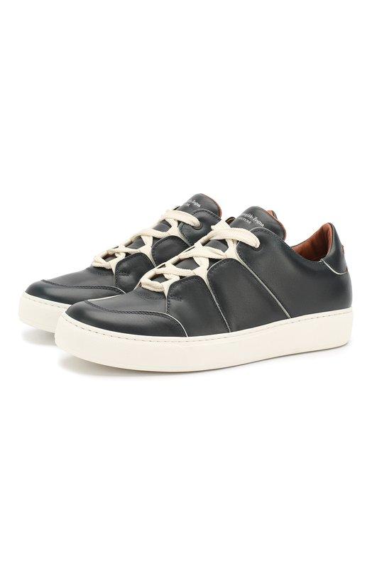 Купить Кожаные кеды на шнуровке Zegna Couture, A2975X-JUN, Италия, Темно-синий, Кожа натуральная: 100%; Стелька-кожа: 100%; Подошва-резина: 100%;