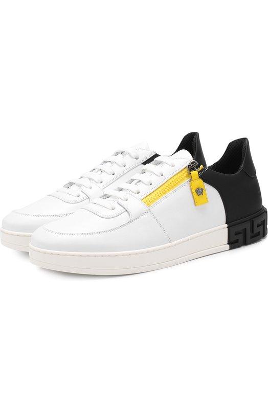Купить Кожаные кеды на шнуровке с молнией Versace, DSU6272/D8VMG, Италия, Черно-белый, Кожа натуральная: 100%; Стелька-кожа: 100%; Подошва-резина: 100%;